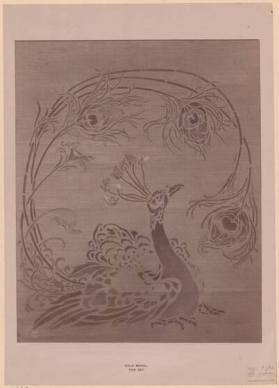 Fotografie eines Entwurfes für eine Schablone für die Dekoration eines Kaminschirms (vom Bearbeiter vergebener Titel)