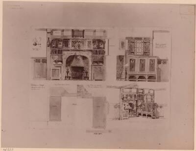 Fotografie eines Entwurfes für einen Kaminplatz mit Sitzbank und Paneelen (vom Bearbeiter vergebener Titel)