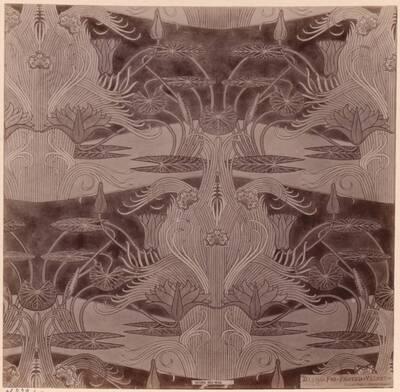 Fotografie eines Entwurfes für einen bedruckten Seidenstoff von Owen Jones (vom Bearbeiter vergebener Titel)