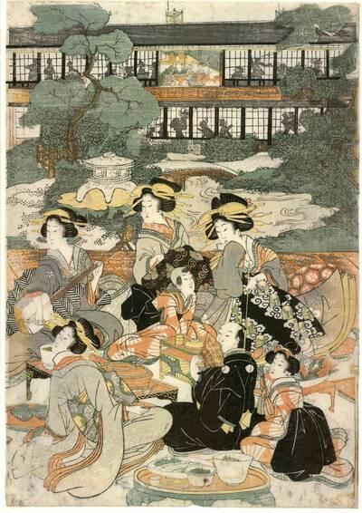 Fest im Ōgi-Haus in Neu-Yoshiwara (Shin-Yoshiwara Ōgiya zashiki no zu 新吉原扇屋座敷ノ圖)