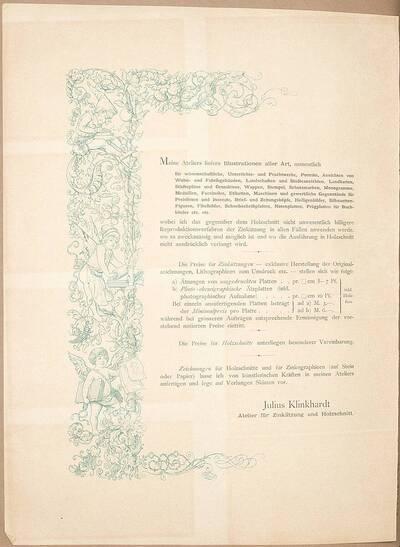Informationsblatt von Julius Klinkhardt zur Neueröffnung seines Ateliers für Zinkographie