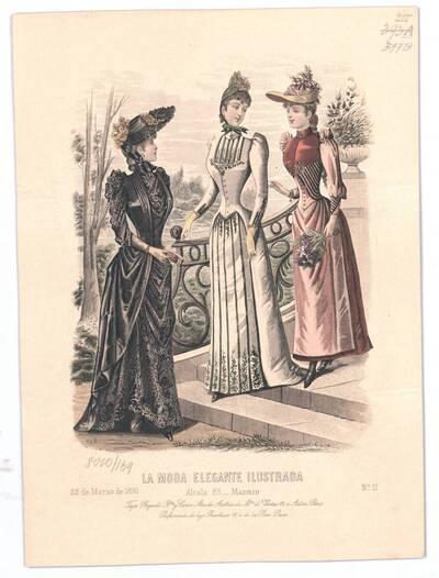 Modebild aus 'La Moda Elegante Ilustrada' drei Frauen in Promenadenkleider bei einer Treppe in einem Park (vom Bearbeiter vergebener Titel)
