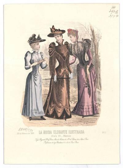 Modebild aus 'La Moda Elegante Ilustrada' zwei Frauen und ein Mädchen in Promenadenkleider in einem Park (vom Bearbeiter vergebener Titel)