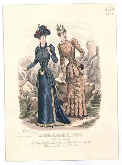 Modebild aus 'La Moda Elegante Ilustrada' zwei Frauen in Promenadenkleider in einer Berglandschaft (vom Bearbeiter vergebener Titel)