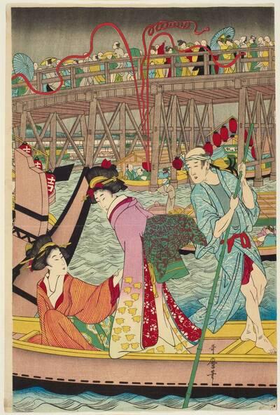 Wahre Darstellung der Saisoneröffnung an der Ryōgoku-Brücke in Edo in der Bunka-Periode (Bunka nenkan Edo Ryōgoku kawabiraki no shinzu 文化年間江戸両国川開之真圖)