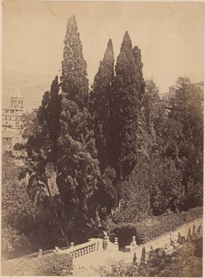 Fotografie eines Gartendetails der Villa d'Este in Tivoli (vom Bearbeiter vergebener Titel)