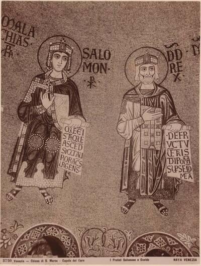 Fotografie eines Mosaikdetails mit den Propheten Salomon und David aus der Basilika San Marco in Venedig (vom Bearbeiter vergebener Titel)
