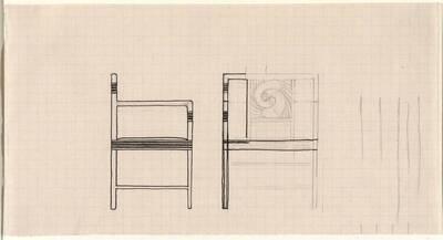 Entwurf zu einem Armlehnsessel im Speisezimmer der Wohnung für Dr. Zuckerkandl (vom Bearbeiter vergebener Titel)