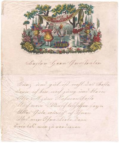 Briefpapier des Biedermeiers zwei Kinder jenseits eines Denkmals im Garten (vom Bearbeiter vergebener Titel)