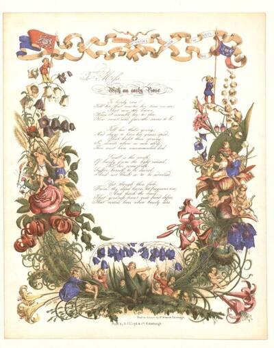 Briefpapier mit ausladendem Rahmenornament bestehend aus Blumen und mehreren Szenerien mit zahlreichen Figuren