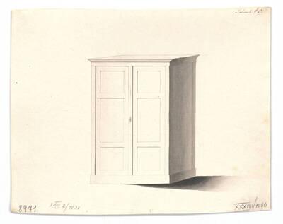 Entwurf für einen Garderobenschrank (vom Bearbeiter vergebener Titel)
