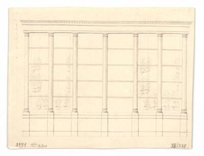 Entwurf für eine Fensterwand mit Blick in einen Wintergarten (vom Bearbeiter vergebener Titel)
