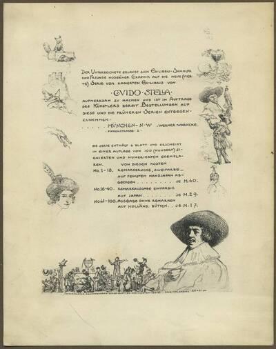 Werbeblatt für die neue Serie von radierten Ex-Libris von Guido Stella
