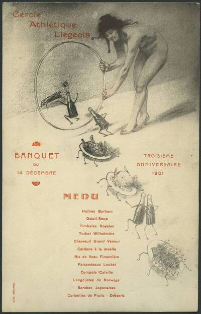 Menükarte zum Banquet des Cercle Athlétique Liégeois am 14 Dezember 1901