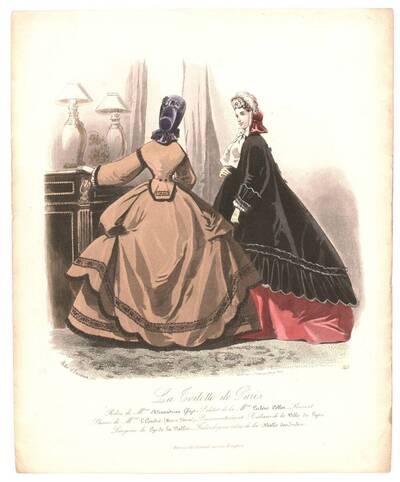 Pariser Modebild aus 'La Toilette de Paris' zwei Frauen in Besuchs- oder Straßenkleider in einem Interieur (vom Bearbeiter vergebener Titel)