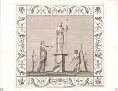 [Titusthermen. Figur auf Sockel, Frau mit Schale, knieender Mann] (vom Bearbeiter vergebener Titel)