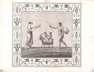 [Titusthermen. Zwei Kinder auf einer Ziege zwischen Frau mit Tamburin und nacktem Mann mit Stab] (vom Bearbeiter vergebener Titel)