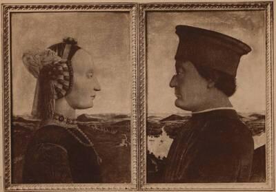 Fotografie des Dyptichons mit Porträtmalereien des Condottieri Federico da Montefeltro und seiner Frau Battista Sforza, von Piero della Francesca, von 1472-73 (vom Bearbeiter vergebener Titel)