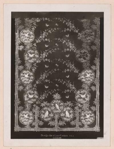 Fotografie eines Entwurfes für einen Spitzen-Vorhang (vom Bearbeiter vergebener Titel)