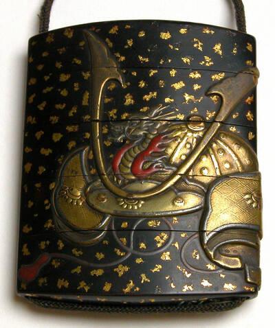 Samuraihelm (kabuto) mit Kriegsfächer