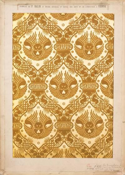 Stilkopie eines venezianischen Stoffes des 13. Jahrhunderts (vom Bearbeiter vergebener Titel)