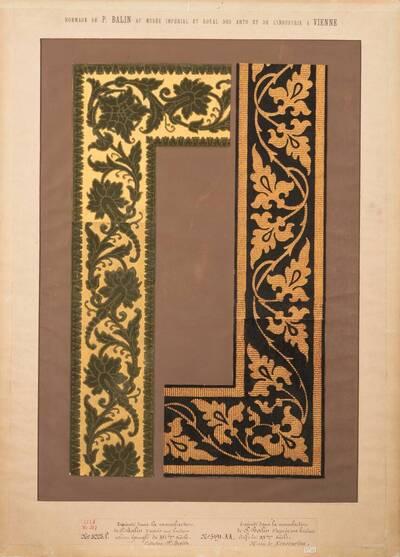 Stilkopien von zwei Reliefsamttapetenbordüren des 15. und 16. Jahrhunderts (vom Bearbeiter vergebener Titel)
