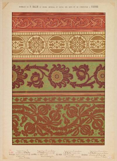 Stilkopien einzelner Bordüren und Seidenstoffen nach diversen Mustern des Mittelalters und des 16. und 17. Jahrhunderts (vom Bearbeiter vergebener Titel)