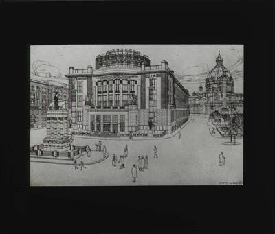Dritter Projektentwurf für das Kaiser Franz Josef Stadtmuseum am Karlsplatz in Wien (vom Bearbeiter vergebener Titel)