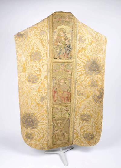 Granatapfelmuster in gelb, weiß und silber, Stab mit Heiligenfiguren in Goldrahmen