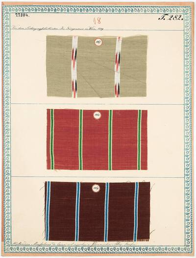 Halbseidene Mousselines de laine mit irisirten und flammirten Atlas-Streifen (Originaltitel)