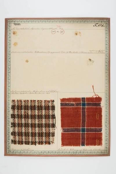 Oboike zur Fußbkleidung; Quadrillierter Wollenzeug auf Weiberröcke, Leibel und Schürzen (historische Bezeichnung)