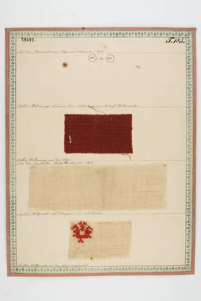 Rothes Wollenzeug Numera oder Suknia, auf Weiberröcke; Leichte Wollgewebe auf Gelsengarne und Tischtücher (historische Bezeichnung)