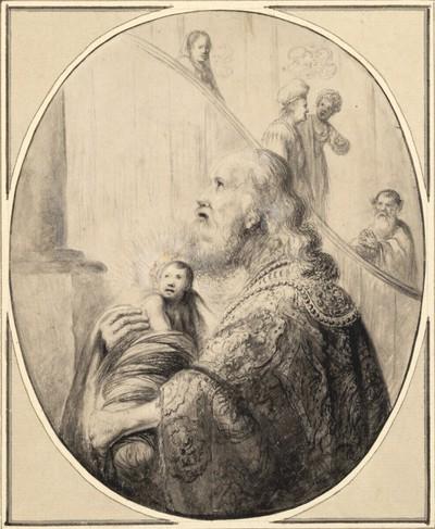 Halbfigur des Hohen Priesters mit dem Jesuskind in den Armen (?)