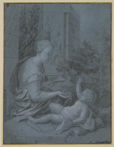 Lesende Frau, mit einem nackten Knäblein spielend (Maria mit Kind?)