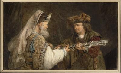 Ahimelech überreicht David das Schwert des Goliath