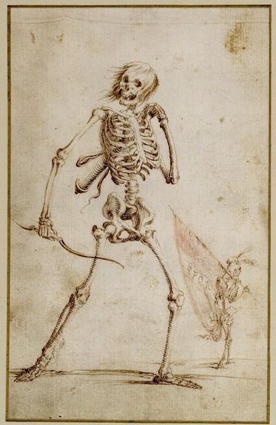 Der Tod als Gerippe mit Köcher und Bogen, rechts mit geschultertem Banner