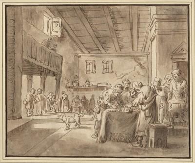 Geld zählende Männer, in einem saalartigen Raum um einen Tisch versammelt (Synagoge?)
