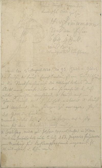 Skizzenbuch: Rückenfigur eines Mädchens mit Wäsche; Notizen