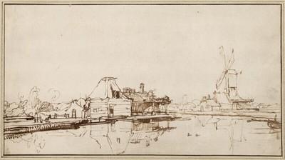 Holländische Kanallandschaft mit Windmühle und Häusern am Ufer