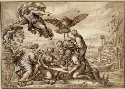 Allegorie der Navigation mit dem Emblem und der Devise der Accademia Partentia. (Über der Landkarte fünf allegorische Figuren; links empfängt Zeus den Kardinalshut; ein Adler trägt einen Stein; rechts Prachtschiff und das Meer mit Segelschiffen)