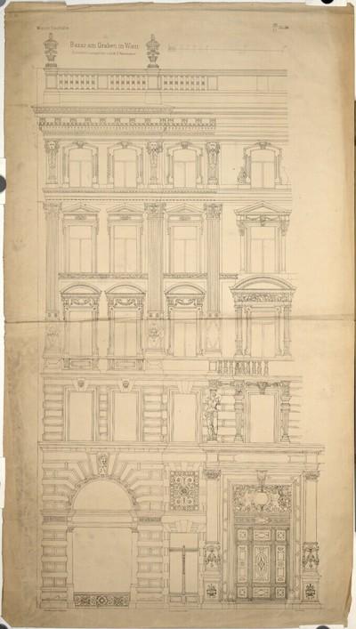 Wien I, Graben 31, Azienda-Hof, Fassade zum Graben, Aufriß