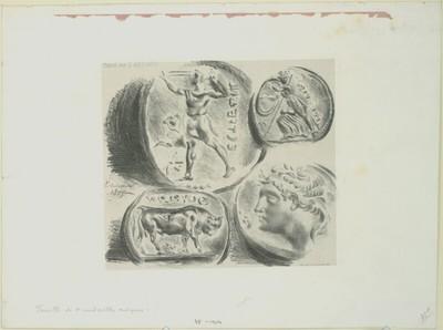 Feuille de quatre médailles antiques