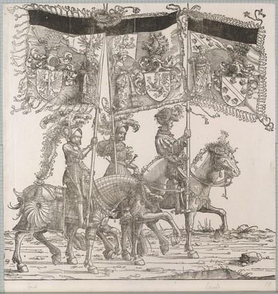 Triumphzug Kaiser Maximilians I.: Banner von Tirol, Habsburg und Elsass