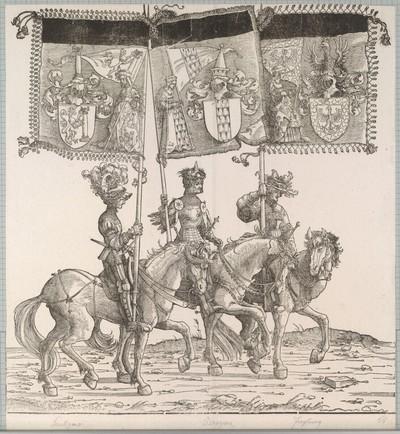 Triumphzug Kaiser Maximilians I.: Banner von Saulgau, Bregenz und Freiburg