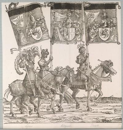 Triumphzug Kaiser Maximilians I.: Banner von Libein, Acht Gericht und Reineck