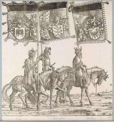 Triumphzug Kaiser Maximilians I.: Banner von Hohenstauff, Weißenhorn und Ehrenberg