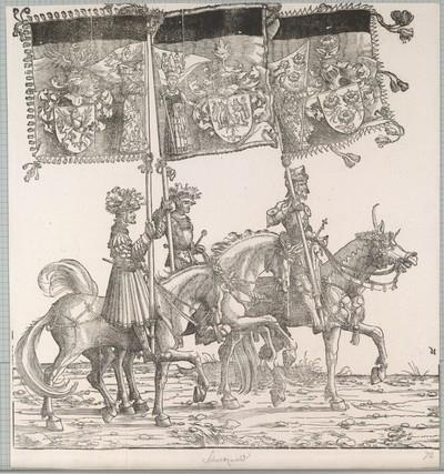 Triumphzug Kaiser Maximilians I.: Banner von Neuburg am Inn, Schwarzwald und Rapersweil