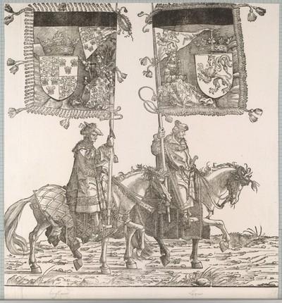 Triumphzug Kaiser Maximilians I.: Banner der zu erbenden Königreiche England und Böhmen