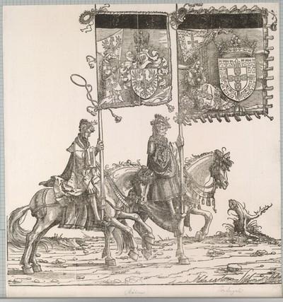 Triumphzug Kaiser Maximilians I.: Banner von Mähren und des zu erbenden Königreichs Portugal