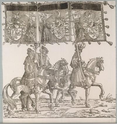 Triumphzug Kaiser Maximilians I.: Banner von Flandern, Burgund (Freigrafschaft) und Hennegau